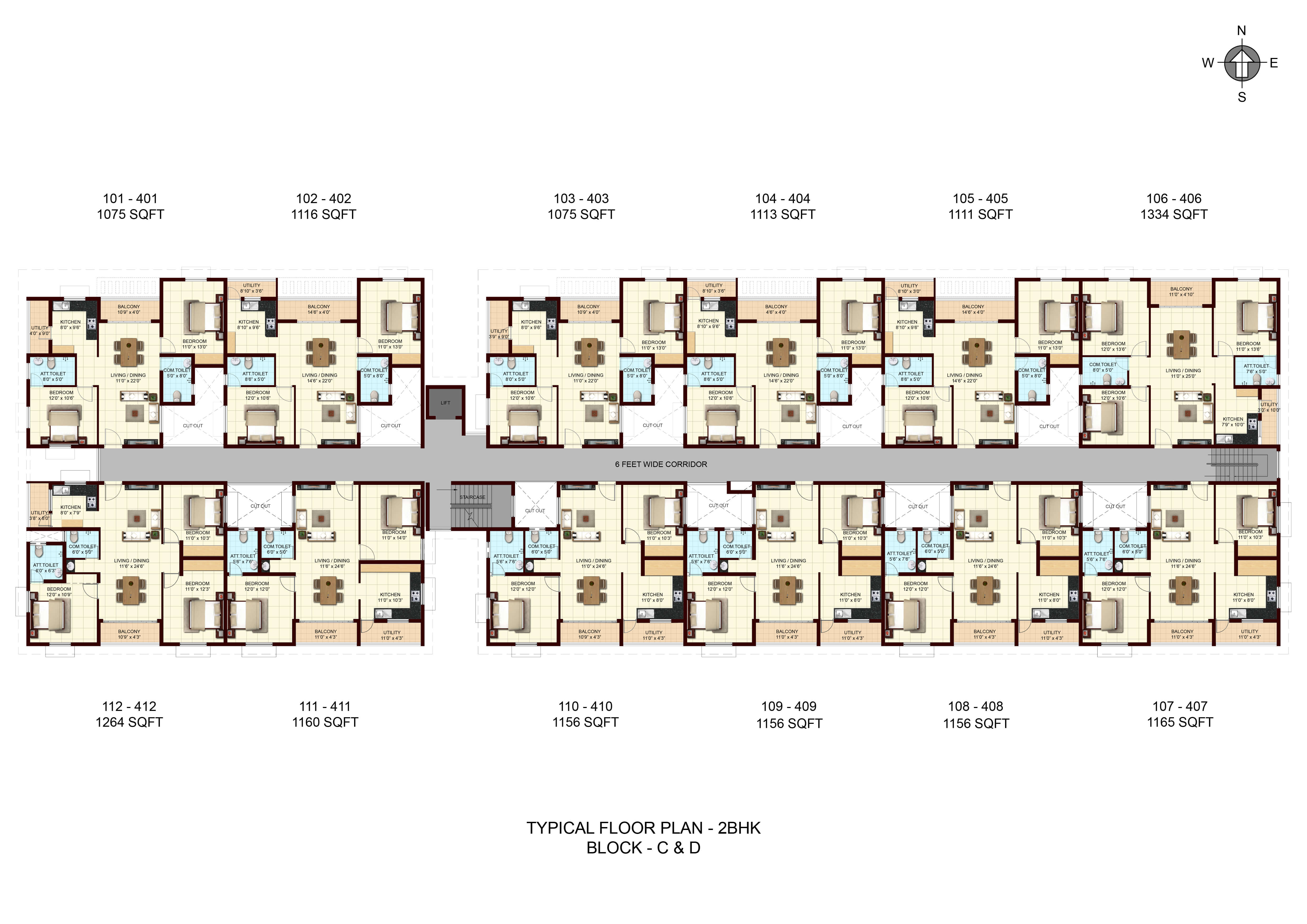 Typical Floor Plan - 2BHK