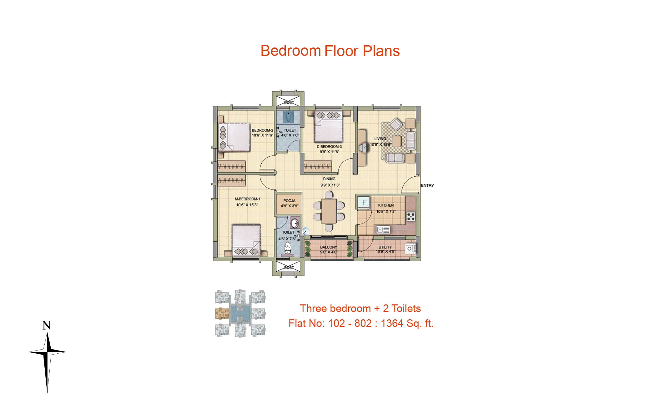 3 BHK Floor Plan- 1364 sq ft