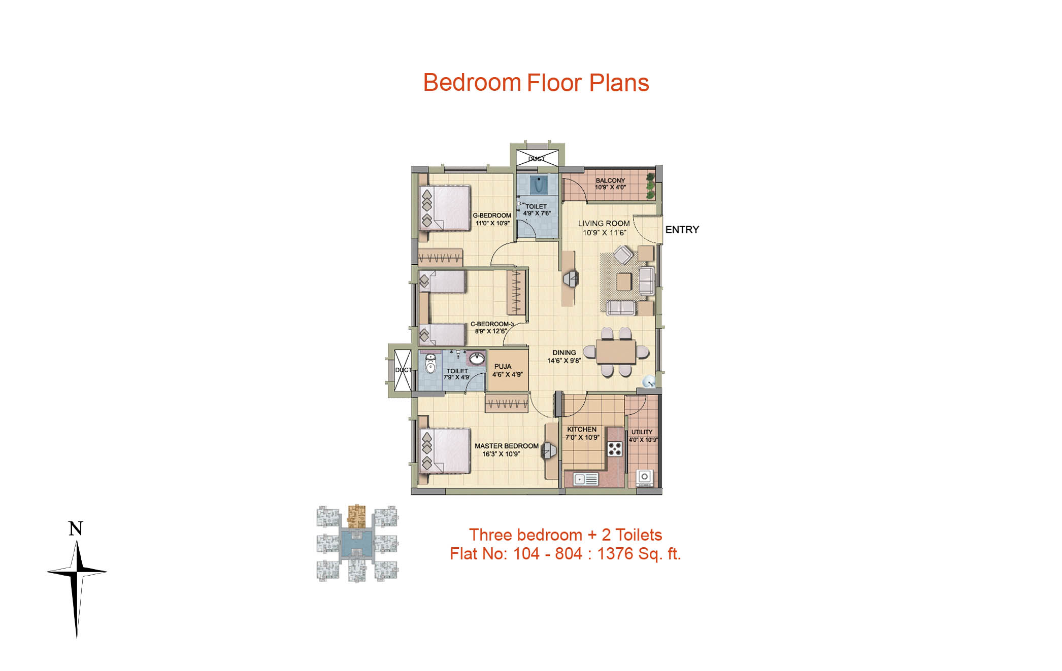 3 BHK Floor Plan-1376 sq ft