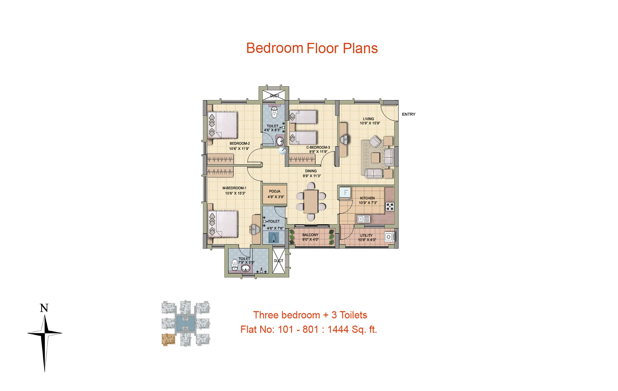 3 BHK Floor Plan-1444 sq ft