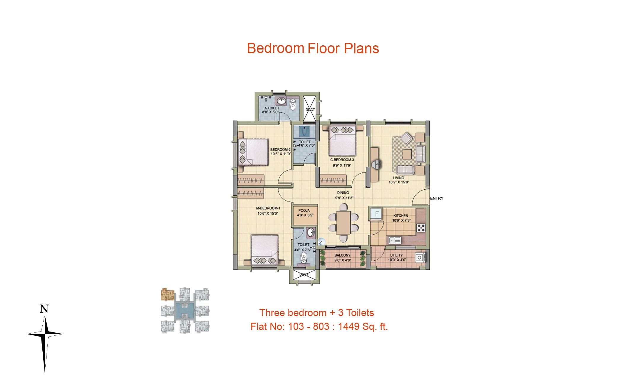 3 BHK Floor Plan-1449 sq ft