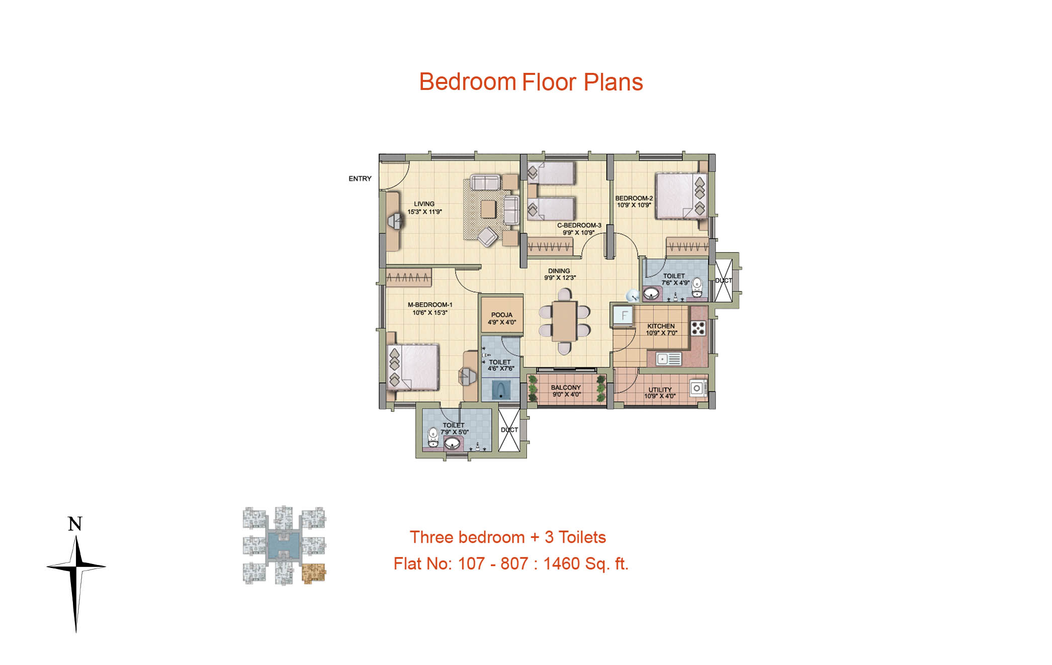 3 BHK Floor Plan-1460 sq ft