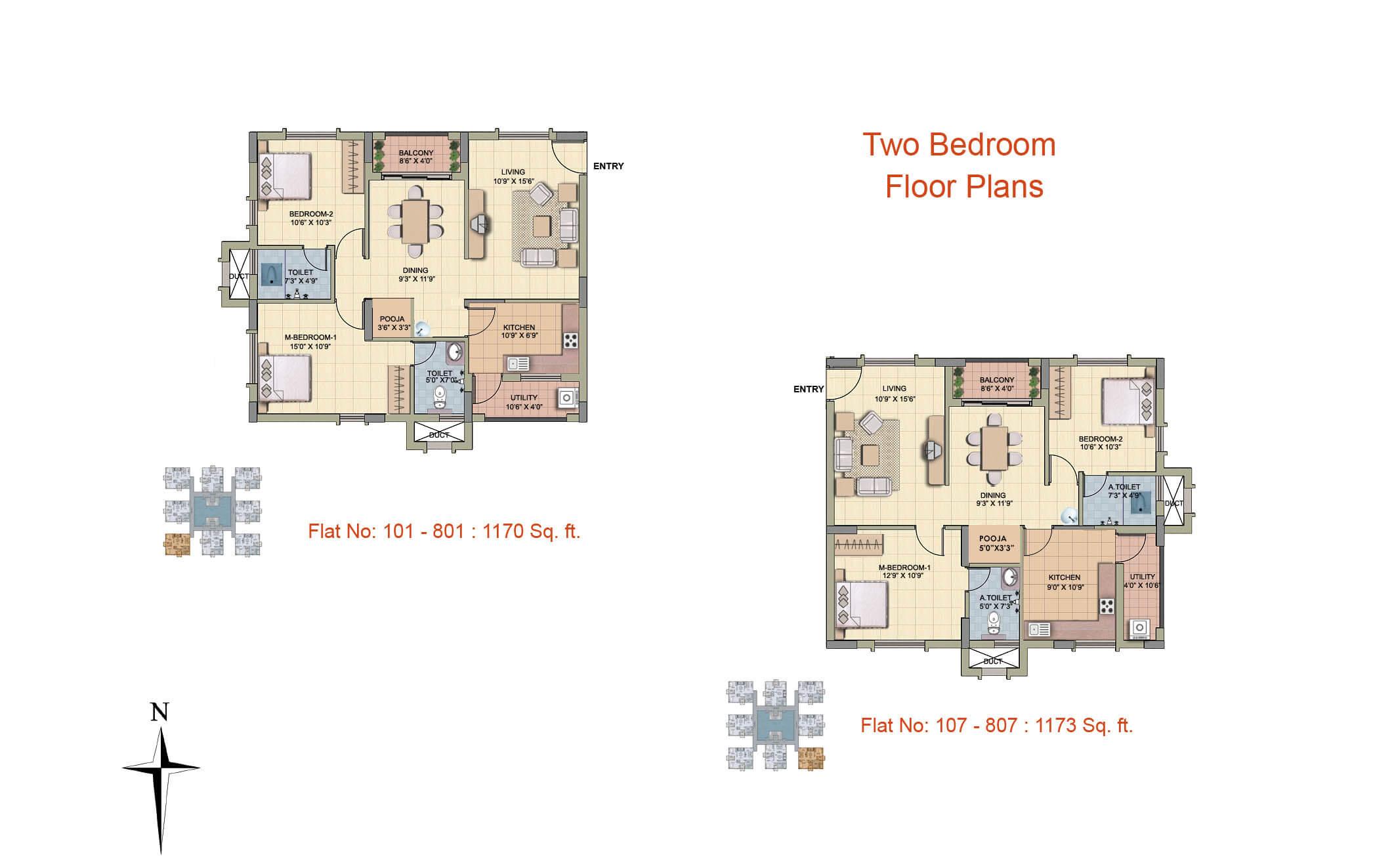 1170 sq ft - 1173 sq ft