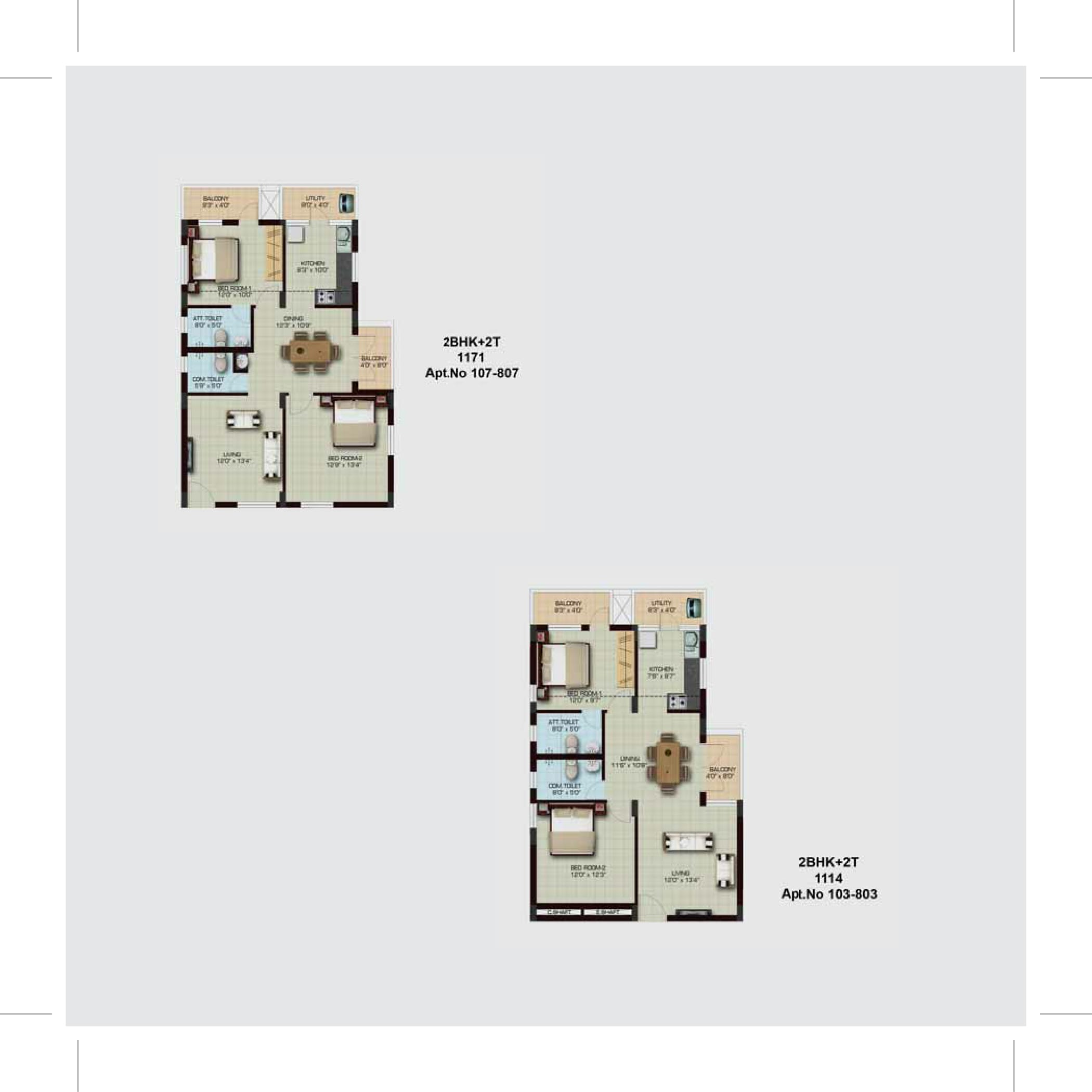 2BHK 2T Floor Plan