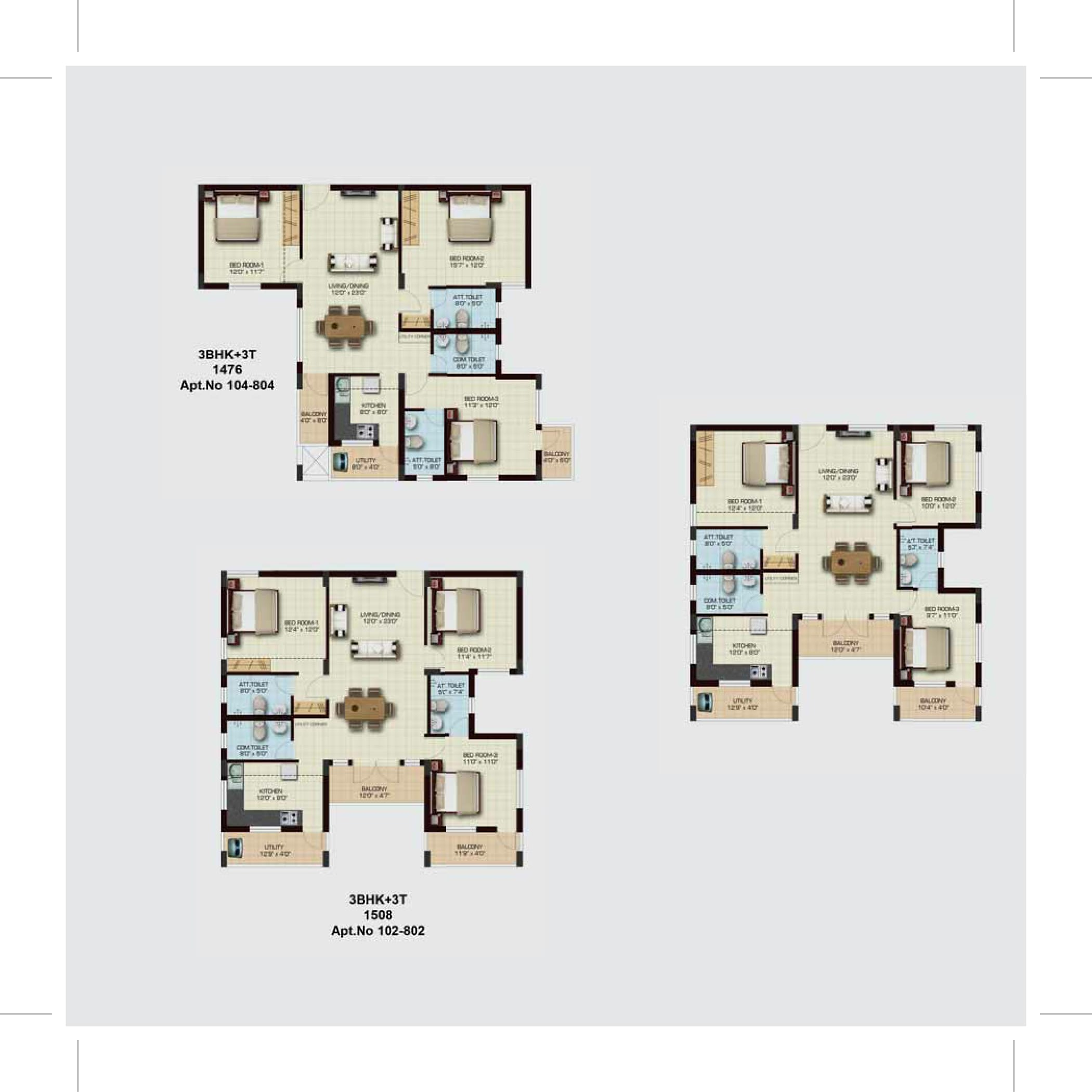 3 BHK 3T Floor Plan